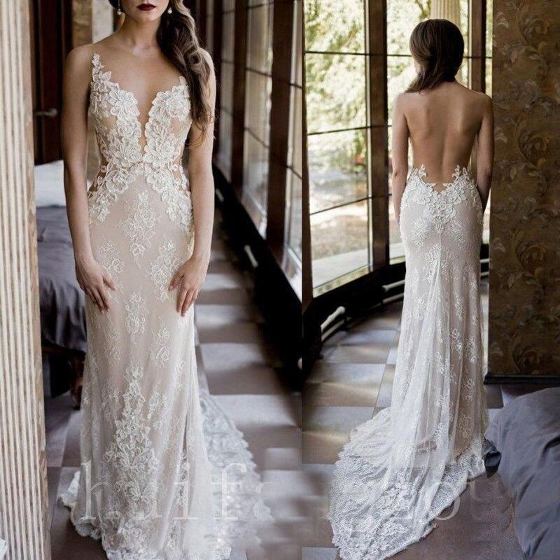 Champagne Lace Wedding Gown: Vestido De Noiva Wedding Dresses 2018 Mermaid Pearls