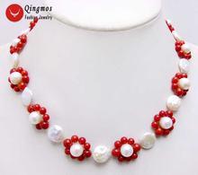 Модное жемчужное ожерелье чокер qingmos для женщин с натуральными
