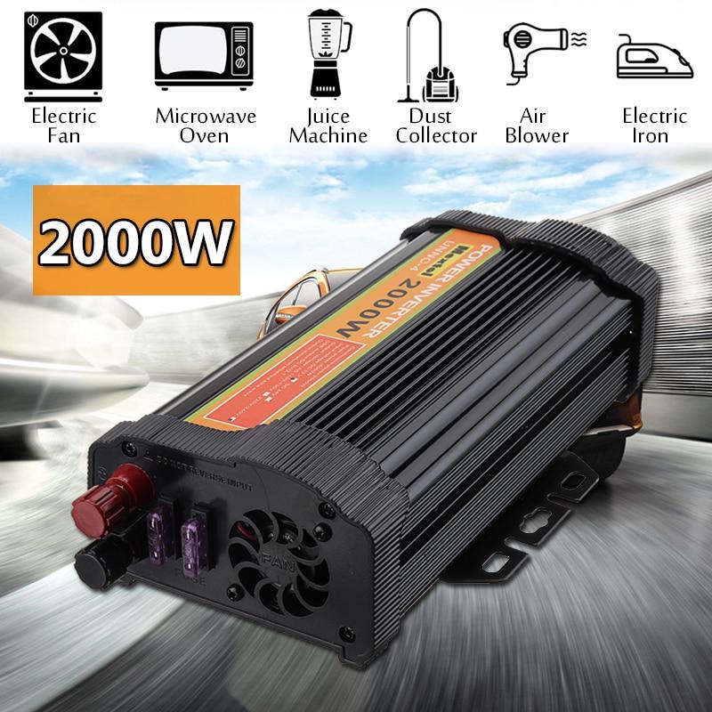 Инвертор В 12 В в 4000 в Макс 220 Вт 2000 Вт Авто модифицированный синусоидальный трансформатор напряжения солнечный инвертор преобразователь авт...
