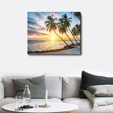 Laeacco Canvas Calligraphy Painting Sea Tropical Palm Tree Sunrise Posters and Prints Wall Art Living Room Home Decoration