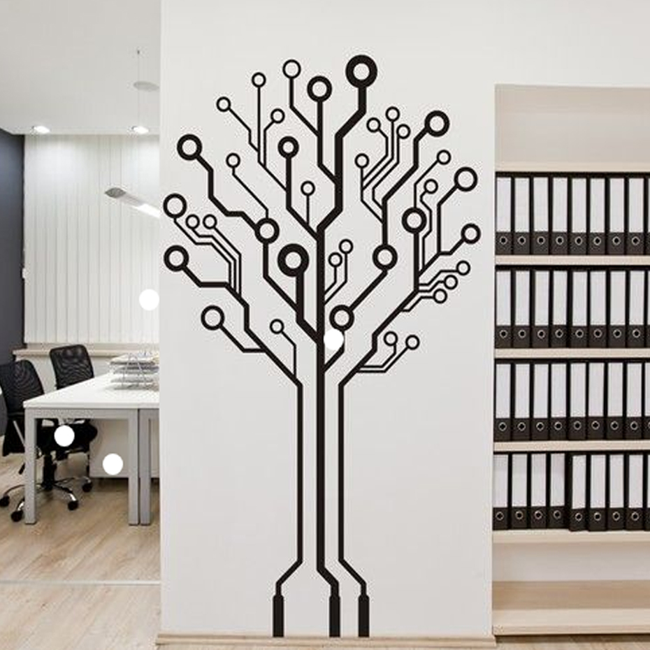 Modern Abstract Geometry Tree 3D Wall Stickers Wall Art Decals Vinyl Fashion Mural Stickers for Office Living Room Home Decor
