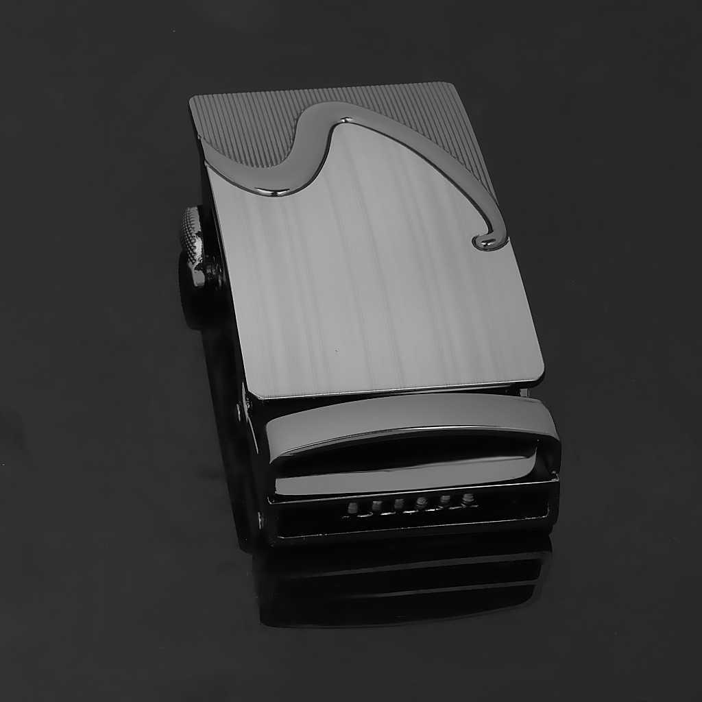 Business Men Fashion automatyczny pasek z klamrą klamra wysokiej jakości stop czarny dla 1.38-1.54 Cal szerokość skórzany pasek