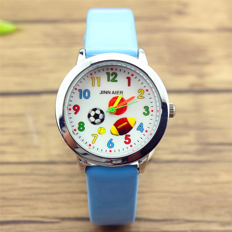 New Fashion Boys And Girls Cute Football Dial Sports Watch Simple Design Children Rugby And Basketball Face Luminous Hands Clock