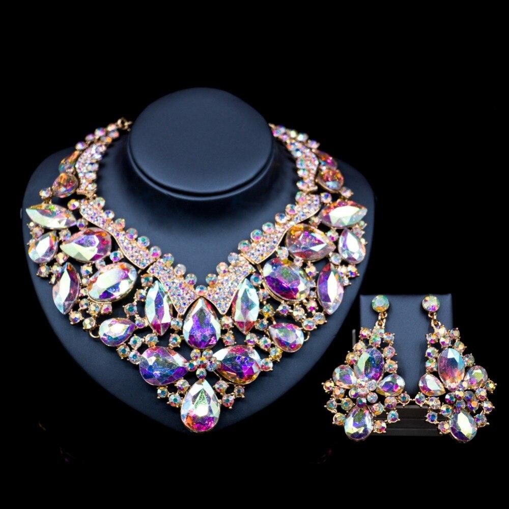 LAN дворец Свадебное колье ювелирные изделия Дубай шесть цветов австрийского хрусталя ожерелье и серьги для свадьбы Бесплатная доставка
