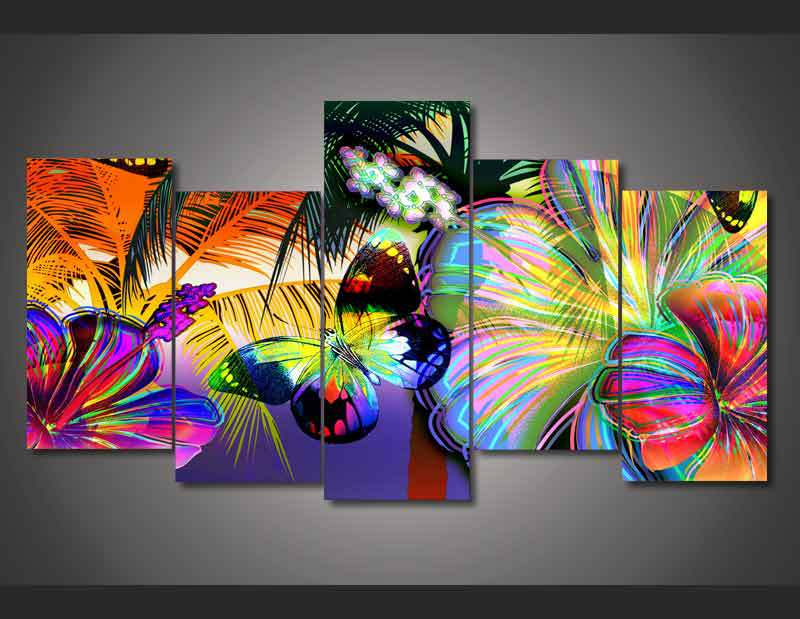 HD Printed Abstract floral butterfly Painting on canvas ...