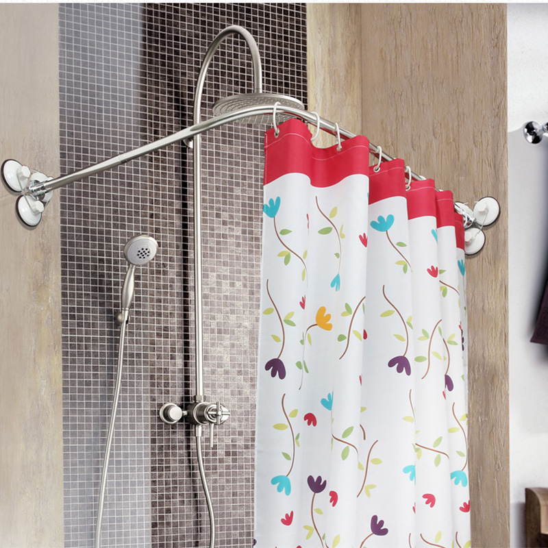 Stainless Steel Curved Shower Curtain Pole Rod Rail
