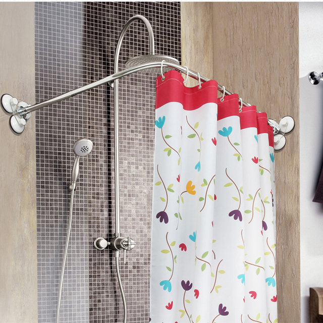 Online Shop Stainless Steel Curved Shower Curtain Pole Rod Rail ...