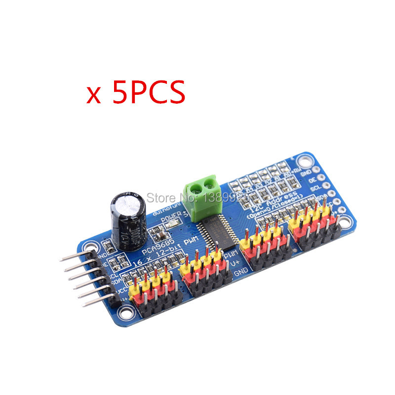 5pcs/lot 16 Channel 12-bit PWM/Servo Driver-I2C Interface PCA9685 Module For Arduino Or Raspberry Pi Shield Module Servo Shield