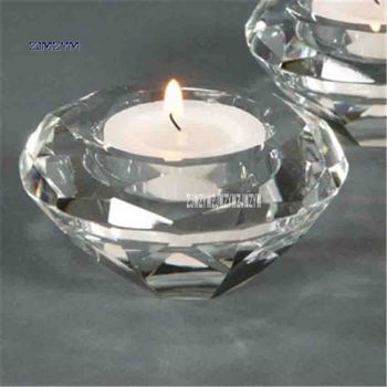 50pcs/lot Transparent Crystal Candle Holders Wedding Centerpieces Decoration Hotel Supplies KTV Candlestick Hot Selling