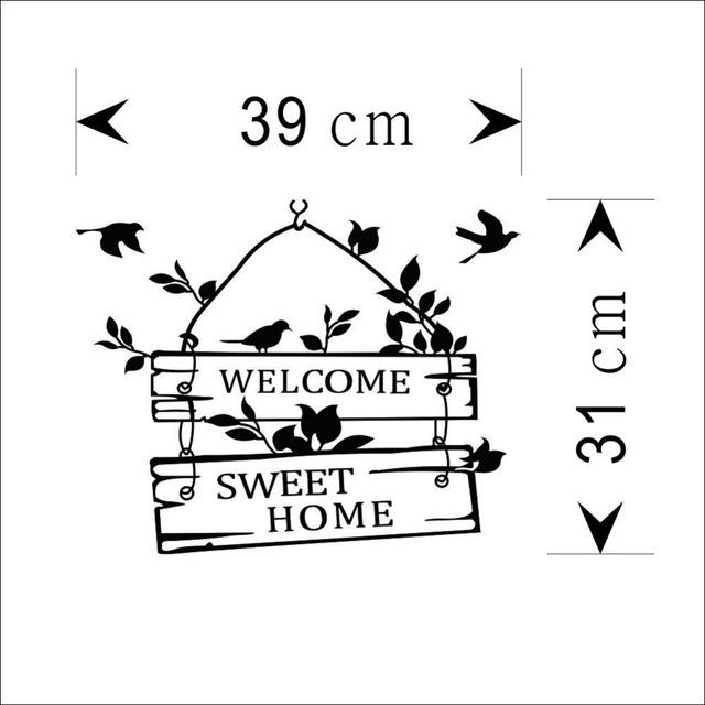 Welcome Sweet Home Birds Wall Sticker