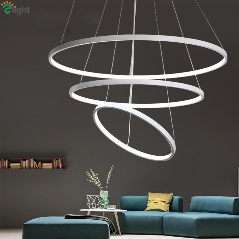 ФОТО AC85-265V Modern Minimalism Aluminium Lustre Ring Led Pendant Light Diy Circle Remote Control Dimmable Led Suspension Lamp