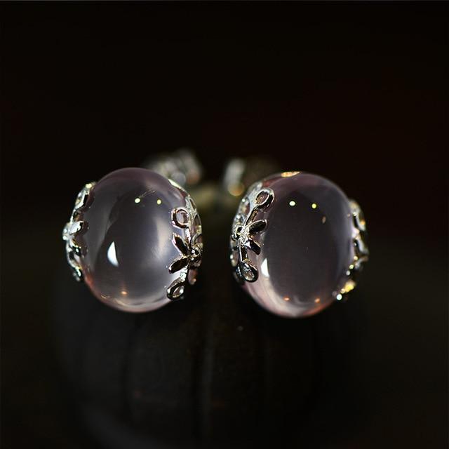 925 Стерлингового Серебра полудрагоценные камни Природного КВАРЦА Розовый серьги Женщины ювелирные изделия Ретро суд стиль подруга подарок на день рождения