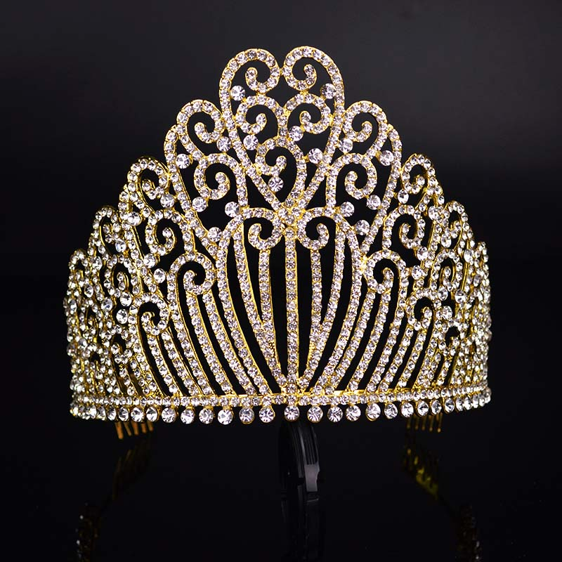 New Sparkling Crystal Tiara Luxury Wedding Headdress Bride Crown Fashion Ladies Crystal Headdress Ladies Wedding Dress T-089 fascinator fashion bride headdress feathers dance show headdress covered the face veil party hat headdress hairpin headwear