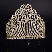 Nuevo cristal brillante tiara boda de lujo tocado novia corona moda Crystal tocado señoras vestido T-089