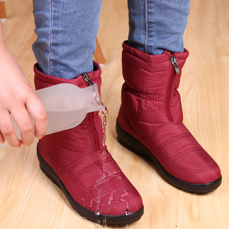 Femmes Chaud Belle bleu Neige Femal Coton Casual Chaussures army Mère rouge Green Bottes Hiver Imperméable brown Noir Et rq5wrtxO
