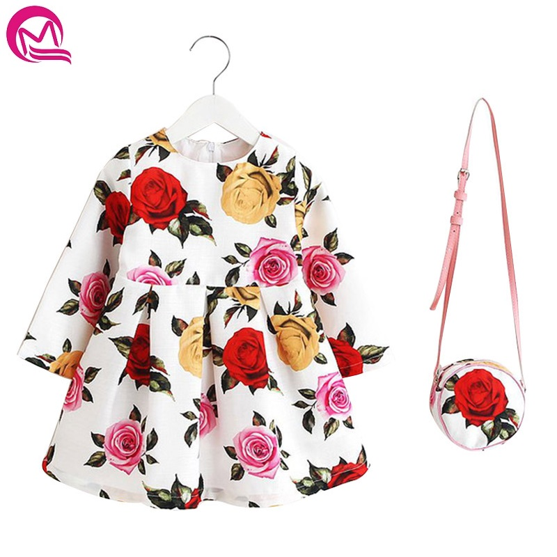 New Arrival Floral Print Girl Dresses Long Sleeve Girls Clothes Christmas Dress For Girl with Bag Children Clothing