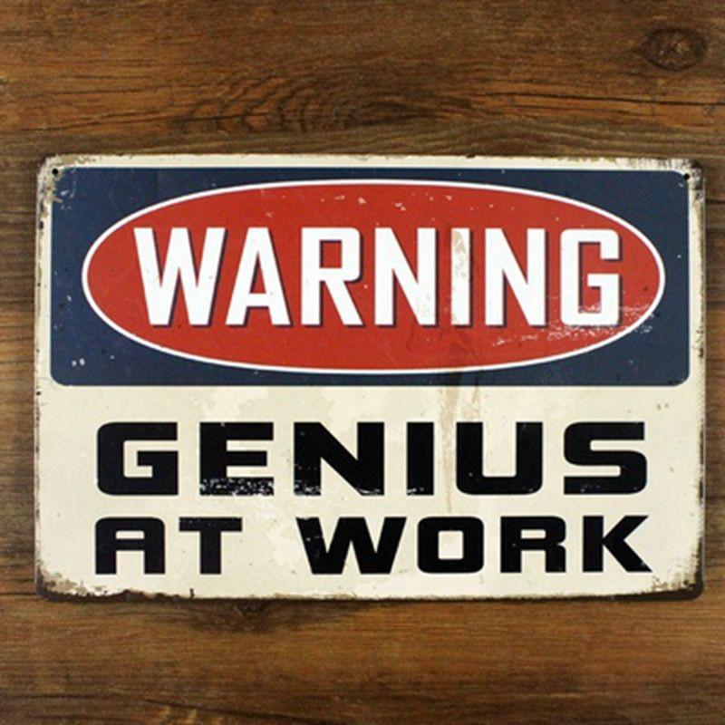 Забавные Ретро Металл Олово Войти для домашнего офиса Настенный декор, предупреждение Genius на работе корабля металла Винтаж Кафе Декор