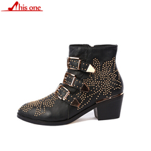 THIS ONE Zapatos Mujer Susanna Studded Real Leather Ankle Boots Round Toe Rivet Flower Martin Women Luxury Velvet