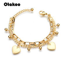 Otakoo Couple Bracelets Double Heart Balls Beaded Bracelet For Women Couple Heat Charm Bracelets(China)