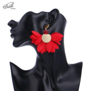 9ceca873a6a2 Badu satinado Chiffon pendiente gran flor de declaración pendientes fiesta  romántico joyería de 6 colores de Dropshipping. exclusivo.
