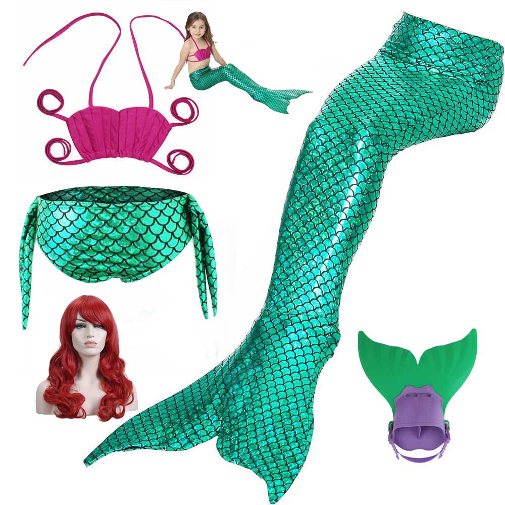 The Little Ariel Fashion Mermaid Tail For Swimming Cosplay Costume Princess Mermaid Tails Swimsuit Monofin Wig Set