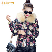 Winter Jacket Women 2017 New Fashion Fur Collar Coat Female Parkas Floral Printed Cotton Padded Jacket