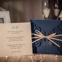 H & D печать Персонализированные синий лазерная резка свадебное приглашение день вечер Бесплатная конверты и Уплотнители с лентой партии по...