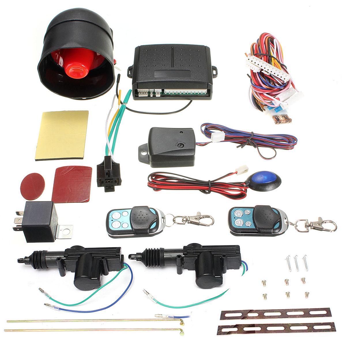 Système antivol de voiture avec deux Kit de verrouillage de porte de voiture système de Protection de sécurité d'alarme antivol de véhicule de voiture avec télécommande