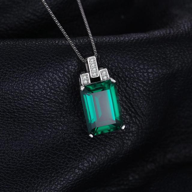 Jpalace 6ct Simulated Nano Emerald Pendant Necklace 925 Sterling Silver Gemstones Choker Statement Necklace Women Without Chain 2