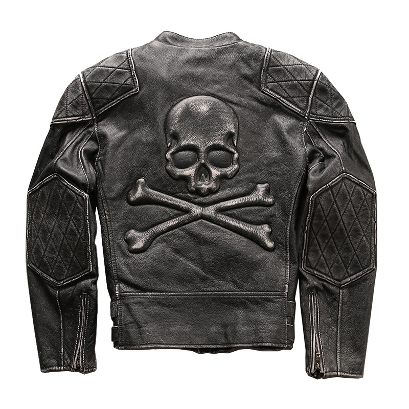 ¡Lea la descripción! Tamaño asiático genuino de los hombres de piel de vaca cráneo motor biker chaqueta de cuero mans cráneo de piel de vaca de cuero genuino chaqueta