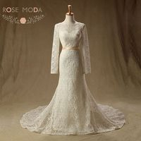 Free Shipping Real Sample Sexy Cathedral Royal Long Sleeve High Quality Lace Mermaid Wedding Dresses With