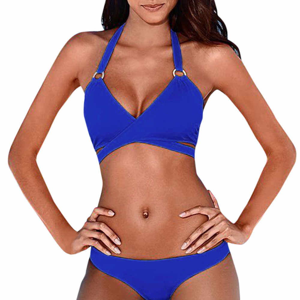 Maillots de bain femmes noir Bikini 2019 Sexy Bikini Push Up solide maillot de bain maillots de bain femme combinaison de natation femmes Bikinis 2019 Mujer