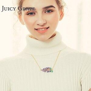 Image 4 - Juicy Grape Handmade Enamel Glaze Necklace Gilded Fresh Lavender Flower Necklace For Women Fashion Jewelry Bijoux Girl Gifts