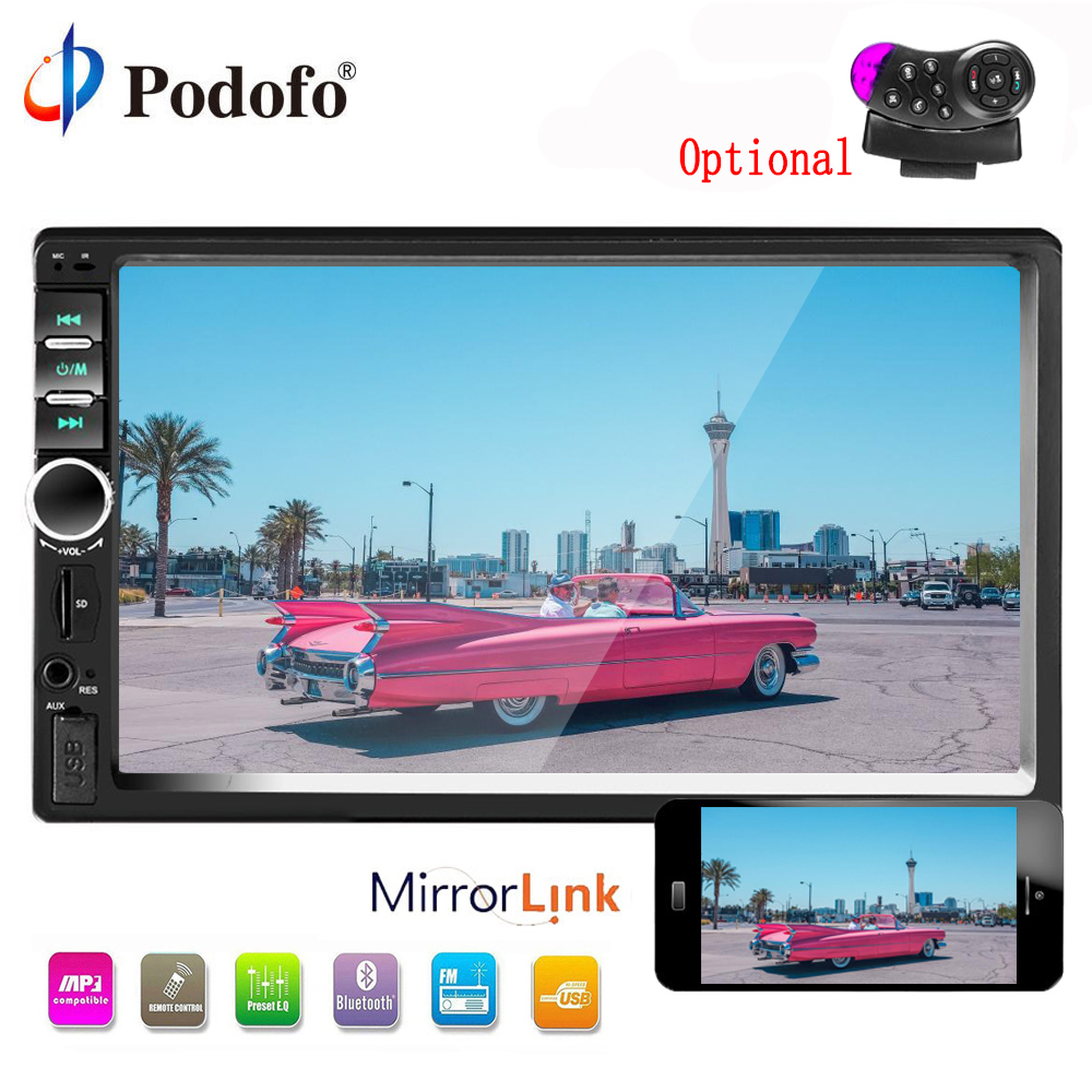 Podofo 2 Din Car Multimedia player 7 Bluetooth Car Radio Touch Screen Audioradio MP5 USB FM 2 din Rear View Camera Audio Stereo podofo 2 din car radio 7 hd touch screen car stereo bluetooth car radio audio mp5 car multimedia player fm usb autoradio camera