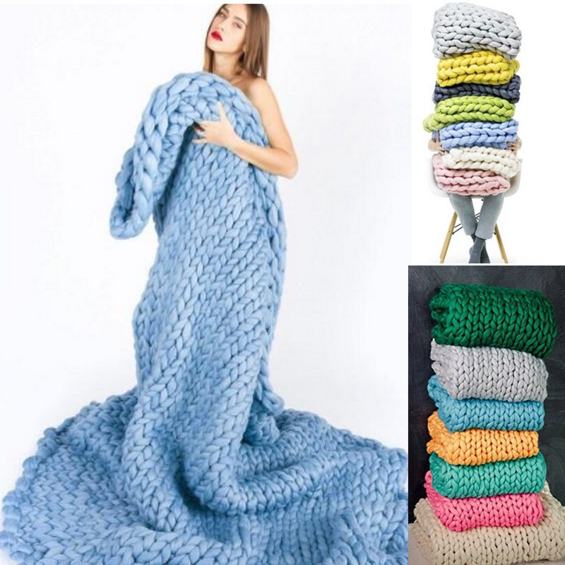 KIDS Hand Weaving Photography Props Blankets Crochet Llinen Soft Knitting Blanket Soft Thick Line Giant Yarn Knitted Blanket