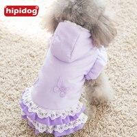 Hipidog Dog Mùa Đông Công Chúa Hoodie Ren Dress Tím Hồng Ấm Bông Dày Chó Ăn Mặc Mùa Thu Cho Nhỏ Puppy Chó Poodle