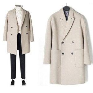 Image 1 - 2019 neue Männer Windjacke Herren Graben Mantel Männer Mantel Lässig Jacke Mode Marke Kleidung männer Wolle Graben Mantel Lange für männer