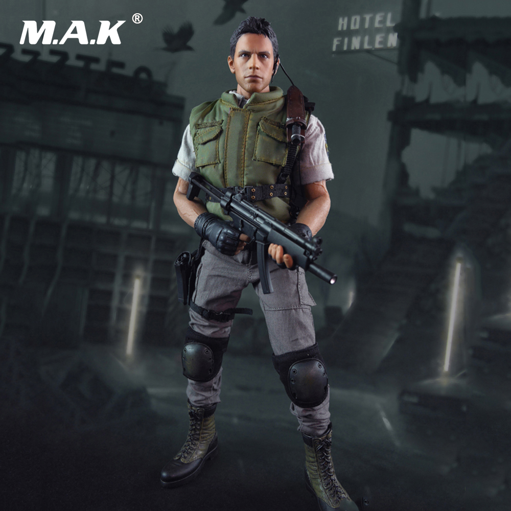 Collectible 1/6 Scale Resident Evil Chris Redfield Action Figure Full Set With Seamless Body Figure 1 6 scale figure doll plastic model seamless body with metal skeleton female samurai tomoe 12 action figure collectible figure