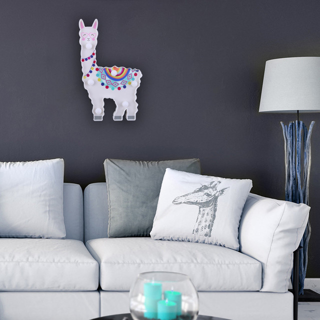 Color Graffiti Night Light Animal Shape Alpaca Modeling Lamp LED Decorative Hanging Lamp luminaria For Home