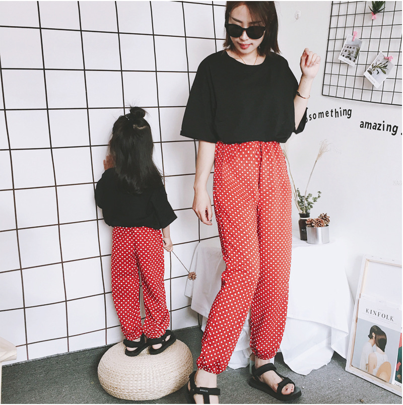 Mother Daughter Clothes 2018 New Summer Baby Girl Lantern Pants Family Look Kids Dot Printed Casual Trousers Pant Mosquito Pants 3