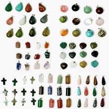 Pendentifs en pierre naturelle ou synthétique, 12 pièces assorties, pendule circulaire, cône, breloques pour la fabrication artisanale, tendance