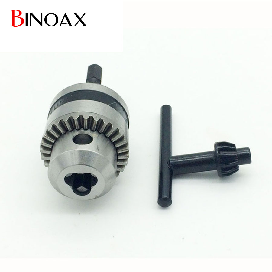 Binoax Electric Drill Chuck Capacity 0.6-6.5mm Thread 3/8-24UNF with 1/4Hex Shank for Hammer Power Tools #ND00255# new rotary b12 hammer drill chuck tool cap 1 5 10mm 3 8 mount 3 8 24unf converion sds shank adapter