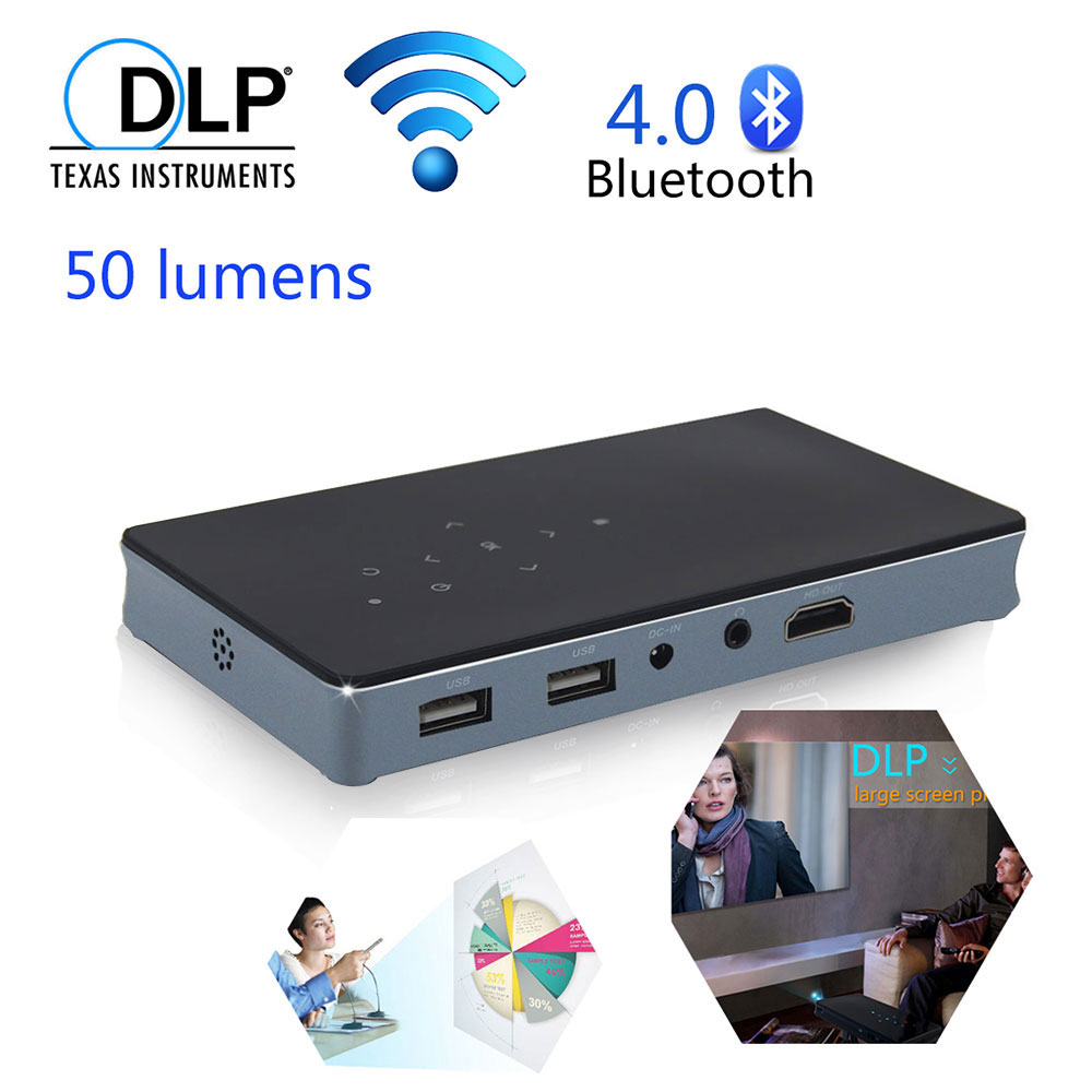 Mini DLP Video Projector Android 4.4 WiFi Smartphone PC Bluetooth 4.0 AirPlay Miracast HD Micro 1080p Home Theater Projector