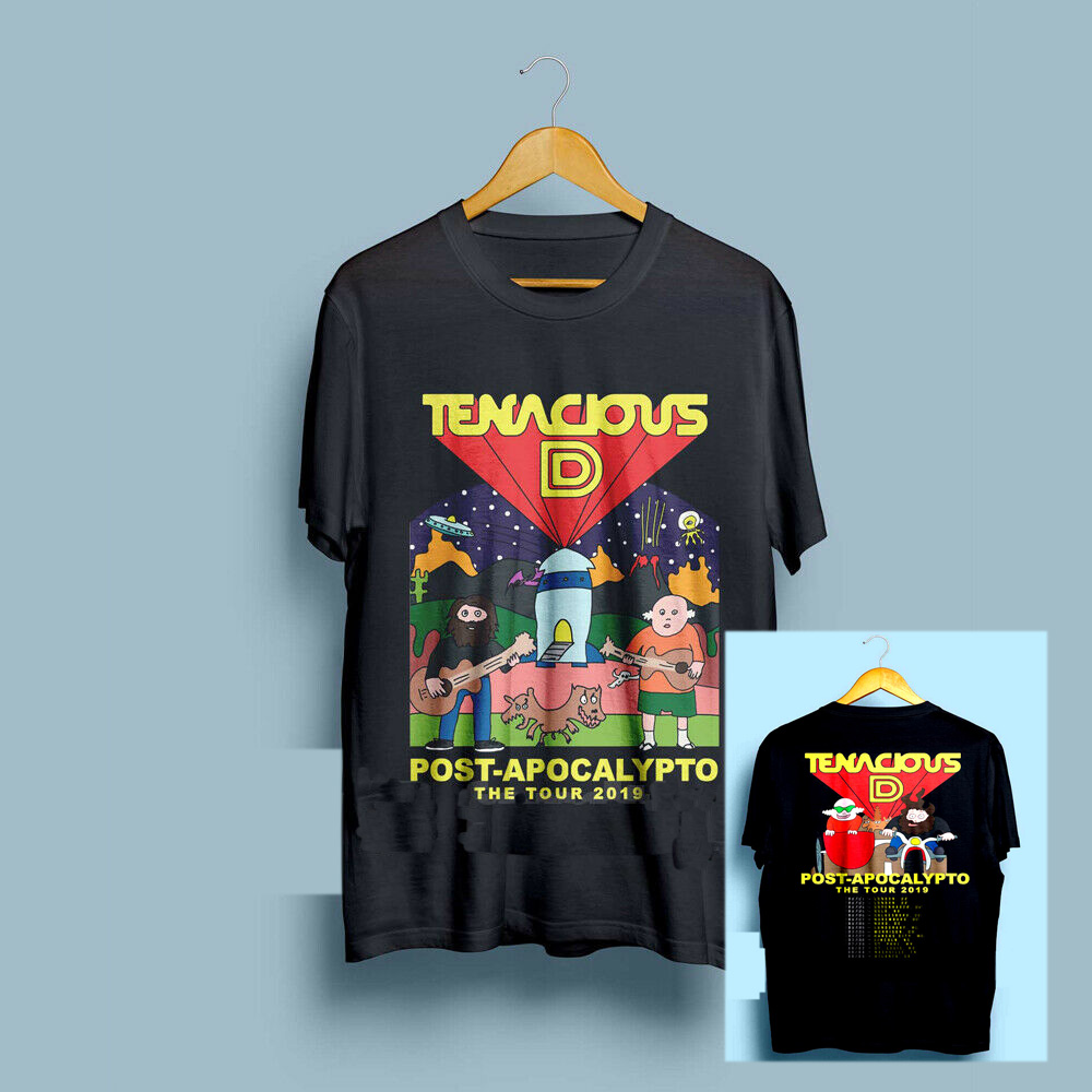 Tenacious <font><b>D</b></font> Post-Apocalypto Tour <font><b>2019</b></font> with Dates Men's Black T-Shirt Size S-3XL T Shirt Men Casual Cotton Short Sleeve image