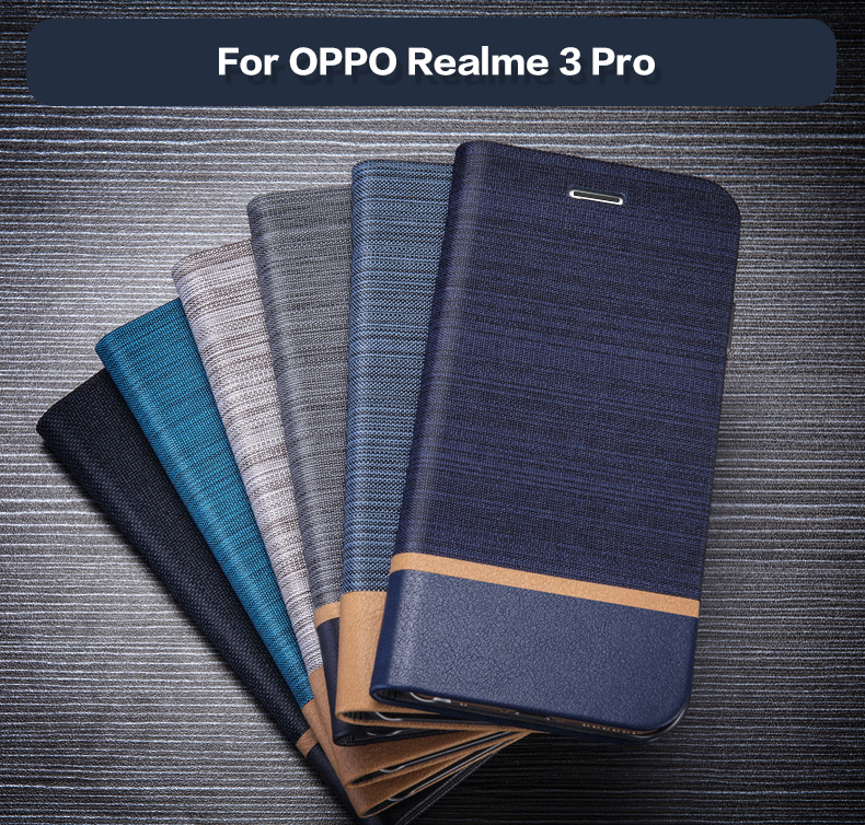 Pu Leather Wallet Case For <font><b>OPPO</b></font> <font><b>Realme</b></font> <font><b>3</b></font> Pro Business <font><b>Phone</b></font> Case For <font><b>OPPO</b></font> <font><b>Realme</b></font> <font><b>3</b></font> Pro Flip Case Soft Tpu Silicone Back Cover image