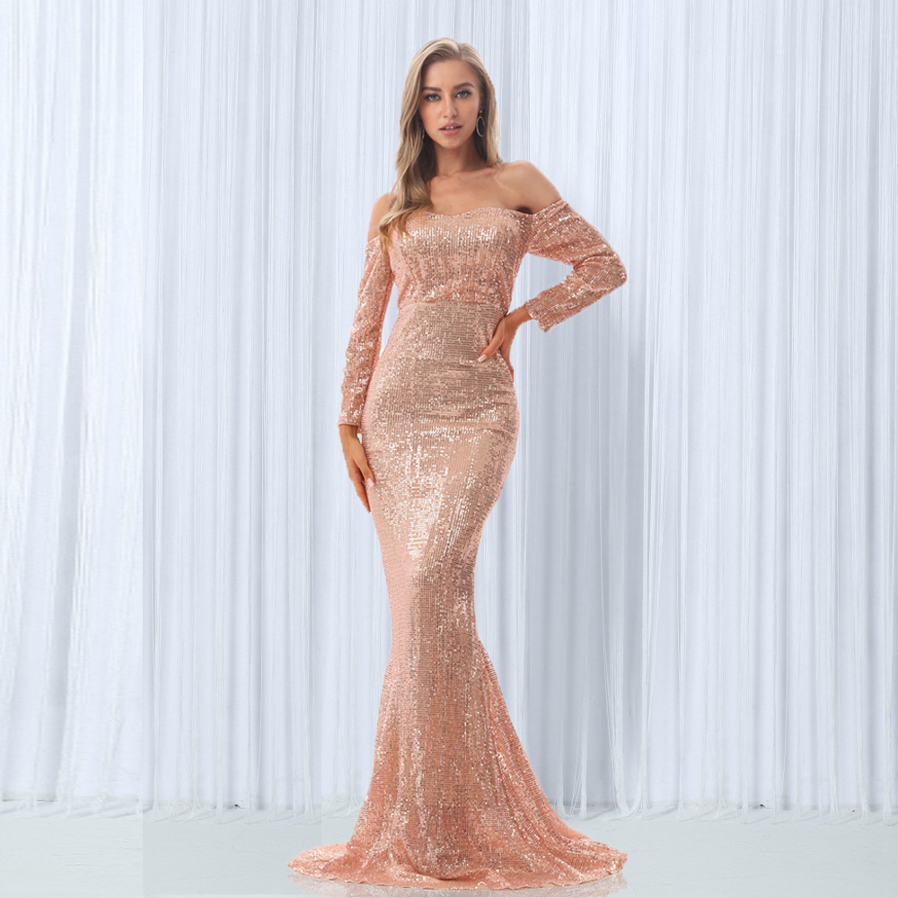 Sexy Sequin Dresses Slash Neck Champagne Gold Sequined Maxi Dress Full Sleeves Floor Length Party Dress