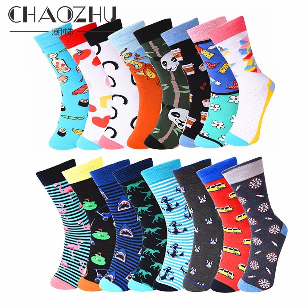 CHAOZHU Men's Fashion Happy Socks Fashion Cartoon Patterns Panda/coffee/bus/shark/French Bulldog Fancies Crew Socks Street Men