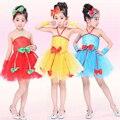 Crianças vermelhas Meninas Vestido de Lantejoulas Dança Moderna Ballroom Jazz Desempenho Partido Dancewear Costume Vestido de Baile Latino