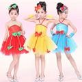 Niños rojos de Lentejuelas Muchachas Del Vestido de Salón de baile de Rendimiento Danza Moderna Jazz Party Dancewear Traje Del Vestido de Baile Latino