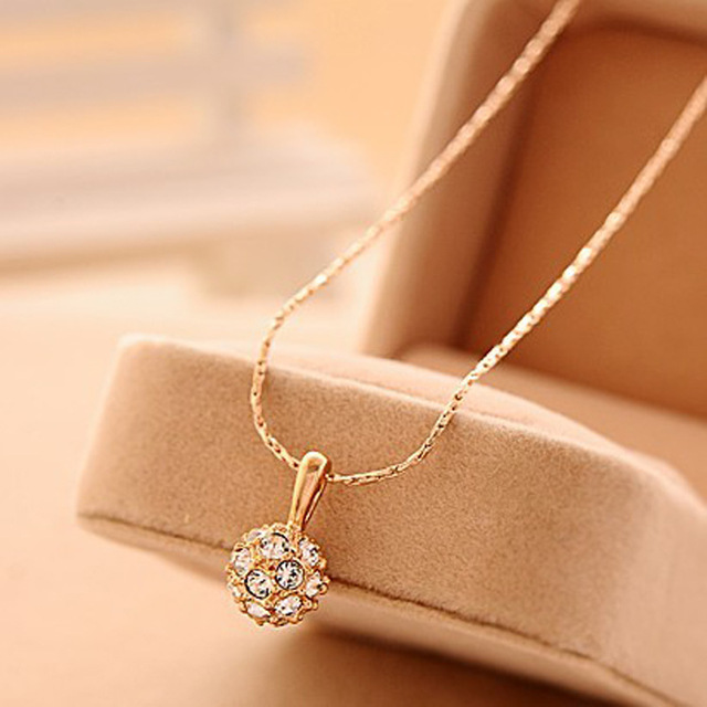 jewelry wholesale crystal ball pendant transfer bead necklace female small chain necklace necklaces & pendants#N44